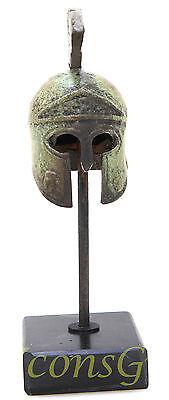 Ancient Greek Bronze Miniature Helmet On Stand Bronze Oxidization 1386-1 2