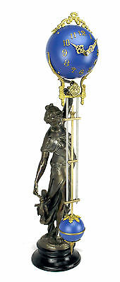 Beautiful Ansonia Cut 8 Day Movement Brass Huntress Lady Mystery Swinger Clock 2