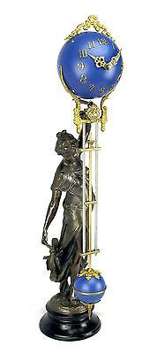Beautiful Ansonia Cut 8 Day Movement Brass Huntress Lady Mystery Swinger Clock 2