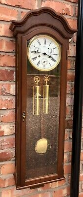 GERMAN Hermle Laterndluhr Vienna Wall Clock 3 Subsidiary Dials DAY DATE MONTH 3