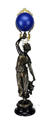 Beautiful Ansonia Cut 8 Day Movement Brass Huntress Lady Mystery Swinger Clock 4