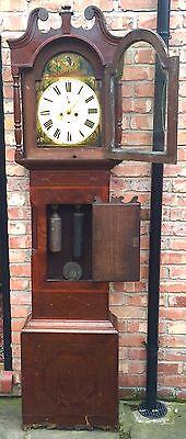 Oak & Mahogany 8 Day Inlaid And Cross Banded Long Case Grandfather Clock 5