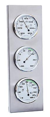 Innen- / Außen- Wetterstation analog Thermometer Hygrometer Barometer Edelstahl 4