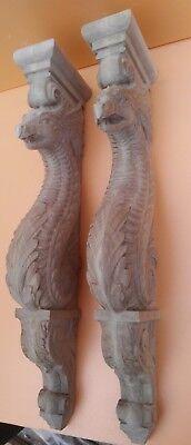 "20"" Large Wooden Corbel/bracket Dragon.  Carved from oak wood. 3"