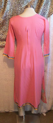 Pink Vintage Indian Tunic top.calf length,side splits, embroidered ruffle detail 6