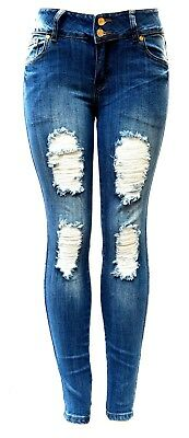 Machine Jeans Jack David Womens Juniors PLUS SIZE Ripped Distressed Denim pants