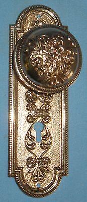 Antique Solid Cast Brass Door Backplate & Knob Victorian Design 8