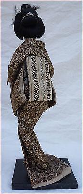 Japanese Geisha Doll Silk Gold Silver Metallic Thread Kimono 6