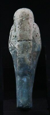 antique Shabti / Ushabti, pre 30 BC Faience, Wig Hoe Pick Beard Pilar 9,5cm