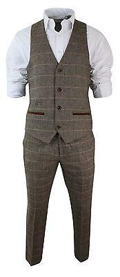 ... Costume 3 pièces homme tweed à chevrons marron clair tan coupe cintrée  vintage 4 519978b88bf