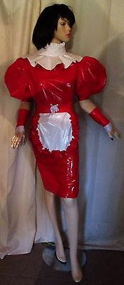 Lackkleid, Minilackkleid,Rüschenkragen mit Schürze,Vinyldress for Maids short 3