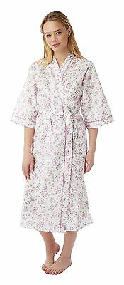 Ladies Floral Poly Cotton Wrap/Dressing Gown Pink,Lilac,Blue - Size 12-30 MN18 3