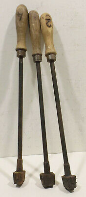3 alte Brandeisen,Brandstempel,Zahlen 1,2,4 mit Holzgriff 4