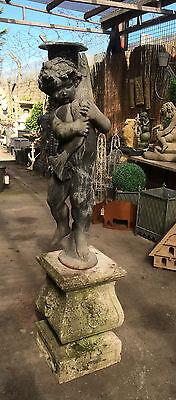 Lead Fountain Figure of a Boy holding a Pike , Antique Garden Fountain Figure