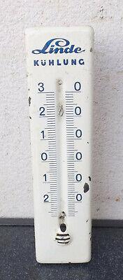 Antiguo Vintage Thermometerhalter Linde Refrigeración Metal / Esmalte Sin 2