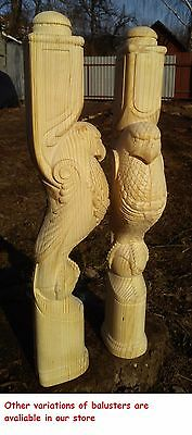 Wooden stairs Oak Decor, unique carved gryphon statue, decorative element. 5