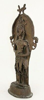 antique 19th C bronze Burial Statue, Bali Java Indonesia or Hindu Deity & Naga 3