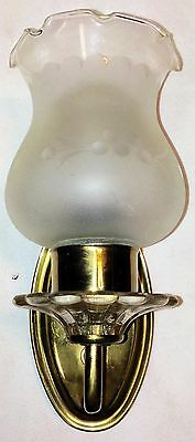 Vintage Indoor Wall Mounted Light Fixture With Ornate Frosted Glass