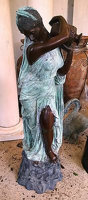"Classical Cast Bronze Sculpture Fountain Rebecca at the Well  Lady with Urn 56""H 11"