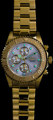 Invicta Mens Pro Diver Chronograph Champagne Dial 18K Gold Plated SS 200MT Watch 6