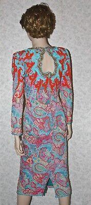 Jasdee Vintage Beaded & Sequins Dress Hand Work & Hand Print On Silk Style 4032 3