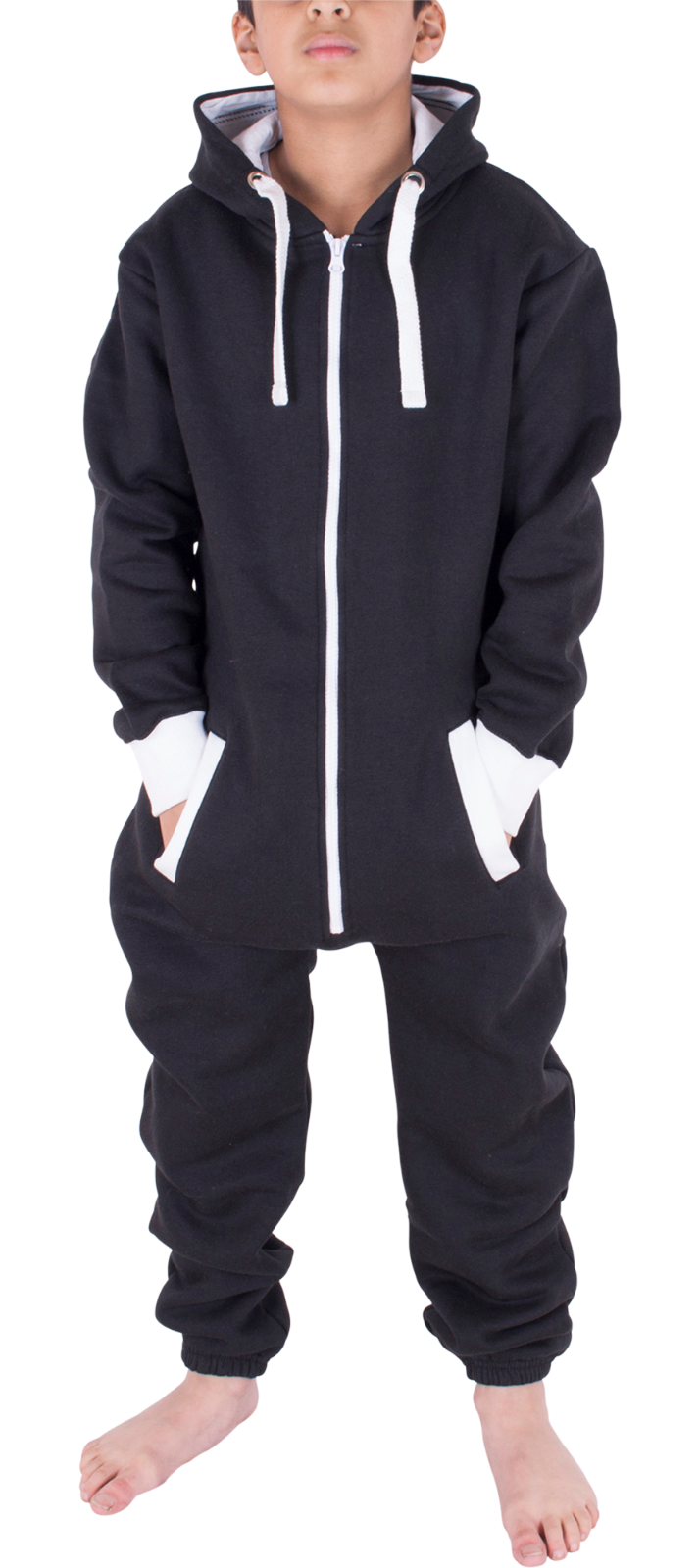 Kids Boys Girls Plain Hooded 1Onesie All in one Jumpsuit Playsuit Sizes 7-13 YRS 3