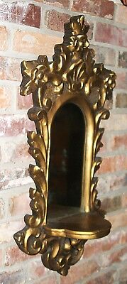 Vintage Hollywood Regency Style Gold Gilded Plaster Wall Mirror With Shelf 2