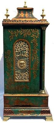 Antique Chinoiserie Green Laquered Triple Fusee Bracket Clock Chiming On 8 Bells 4