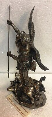 "10"" St Saint Michael Archangel Victory Over Lucifer Statue Figurine.Christianity"