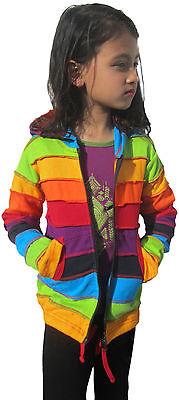 Girls Kids Rainbow Stripe Colorful Hoodie Hippie Bohemian Cute Long Hood Jacket 2