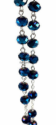 Deep Blue Crystal Beads Rosary Catholic Necklace Holy Soil Medal Cross Crucifix 5