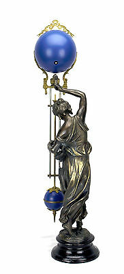 Beautiful Ansonia Cut 8 Day Movement Brass Fisher Lady Mystery Swinger Clock 3