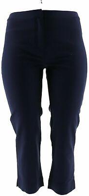 Dennis Basso Regular Size 4 Stretch Woven Crop Pants Navy Blue NEW 4