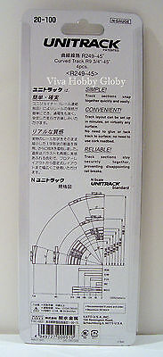"Kato 20100 N UNITRACK CURVED TRACK R9-3//4/"" 45 Degree Train Gray Roadbed New R"
