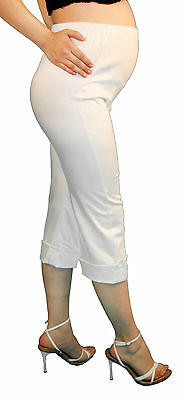 9794a3c5b9aa0 ... White Maternity Capri Pregnancy Bottoms Pants Cropped Confy Elastic bad  Cargo 2