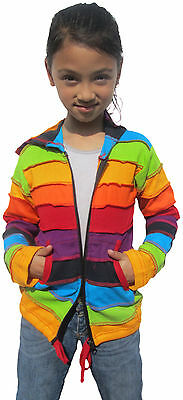 Girls Kids Rainbow Stripe Colorful Hoodie Hippie Bohemian Cute Long Hood Jacket 3