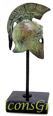 Ancient Greek Bronze Miniature Helmet On Stand Bronze Oxidization 1386-1 3
