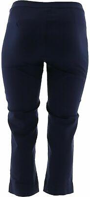 Dennis Basso Regular Size 4 Stretch Woven Crop Pants Navy Blue NEW 6