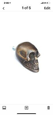 "4 small Skull hardware cabinet Drawer 2cm Gothic Finger Pull Solid Brass 1.3/4""B 5"
