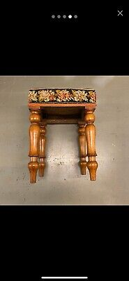 🌟Shabby Antique Wooden Square Tapestry Top Stool Seat Chair 9