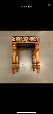 🌟Shabby Antique Wooden Square Tapestry Top Stool Seat Chair 12