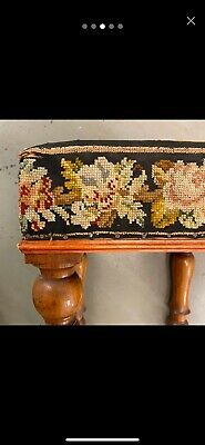 🌟Shabby Antique Wooden Square Tapestry Top Stool Seat Chair 10