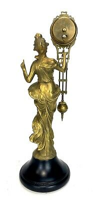 German Style Junghans Brass Diana Lady Figure 8 Day Swinging Swinger Clock 3
