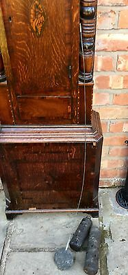 Antique Inlaid Oak & Mahogany Grandfather Longcase Clock E. BUTLER GREAT BRIDGE 12