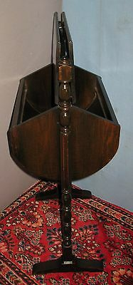 VINTAGE WOOD SEWING STAND FLOOR STYLE CURVED SIDES w/HANDLE FLIP UP TOP