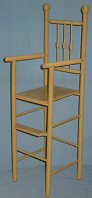 ANTIQUE DOLL HIGH CHAIR w/FOOT REST SPOOL TURNINGS BEEHIVE FINIALS ORIGINAL 2