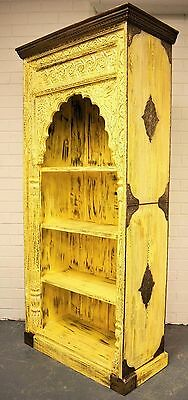 5 Of 12 Antique Carved Timber Yellow Mehrab Indian Bookshelf Display Cabinet