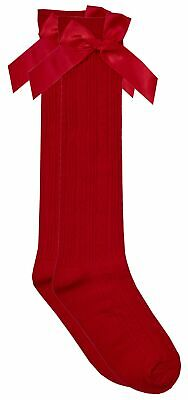 Cottonique Girls Knee High Cable Socks with Ribbon Bow 2