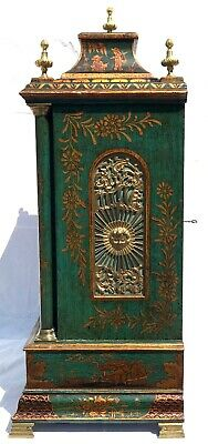 Antique Chinoiserie Green Laquered Triple Fusee Bracket Clock Chiming On 8 Bells 5