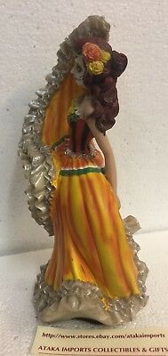 DOD Day of the Dead Mexican Halloween Lady Dancer Orange Skirt Dress Figurine 5